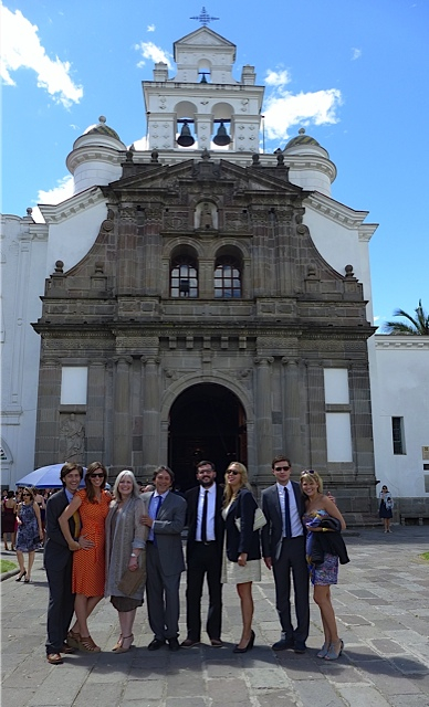 THE SUAREZ FAMILY  at a church in Quito for their cousin's wedding July 2013