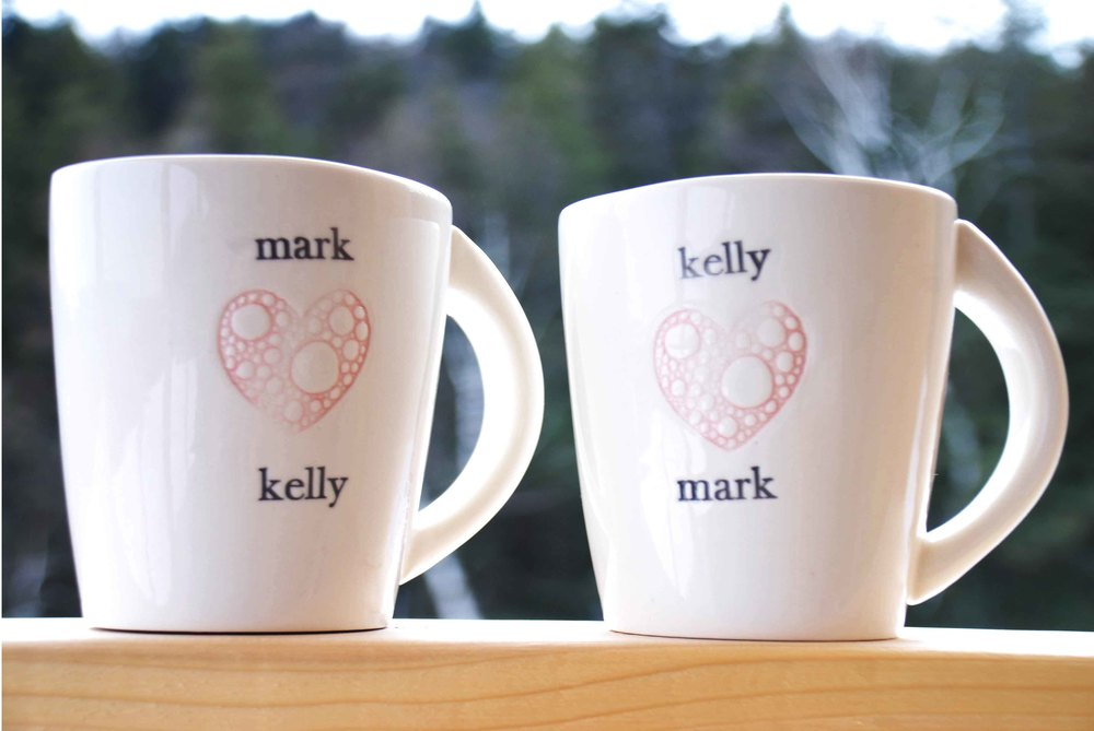 Custom love mugs.