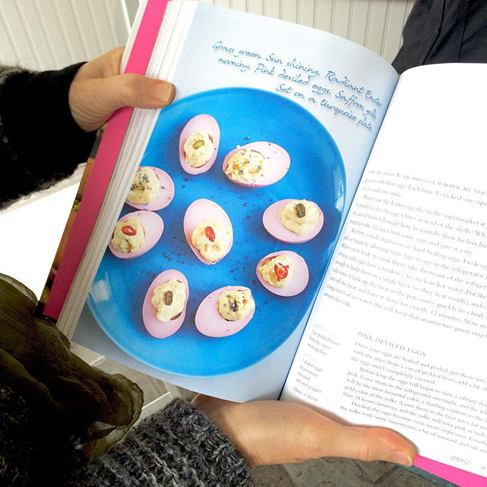My dinnerplate in Ruth's book with gorgeous beet died deviled eggs