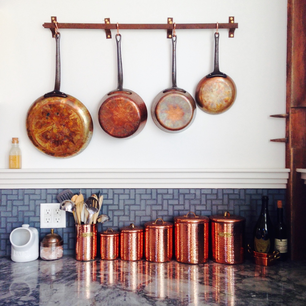 Reclaimed Copper Pot Rack