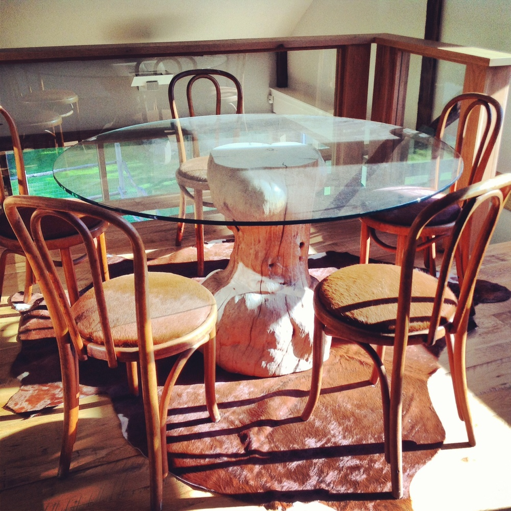 Tree Stump Table & Cow Hide Bentwood Chairs