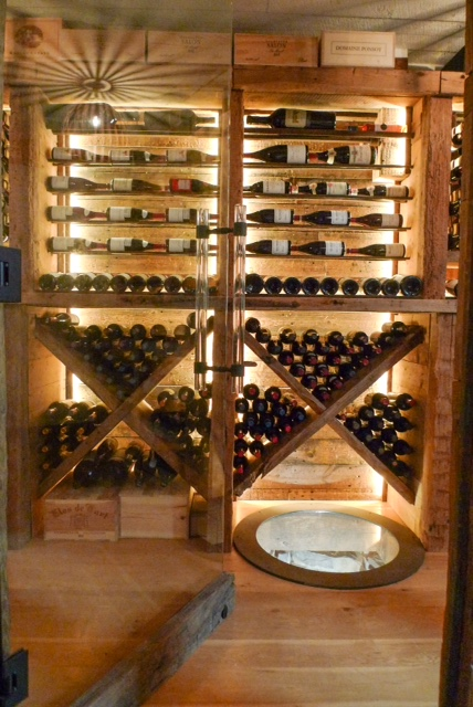 Reclaimed Wood Wine Cellar Racking & Well