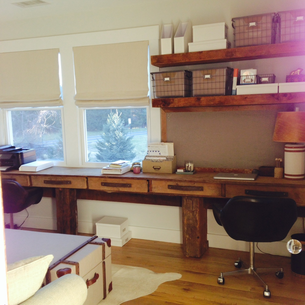 12 Foot Reclaimed Wood and Leather Desk and Shelving
