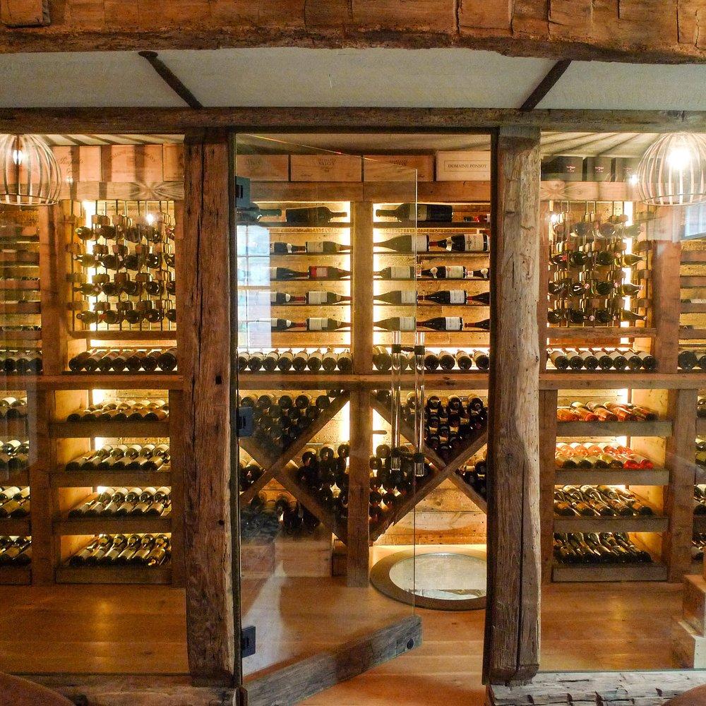 reclaimed wood wine cellar