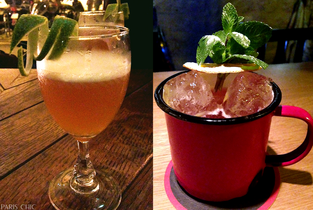 On the left: Le Mary Celeste's zesty cocktail for Paris Cocktail Week. Right: One of Little Red Door's manly cocktails.