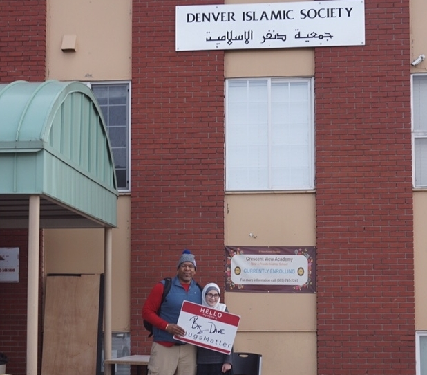 - Standing with a girl at the Denver Islamic Society