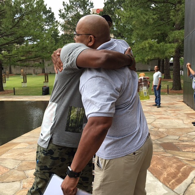 Oklahoma - This picture of me embracing a random dude outside of the Oklahoma City Memorial Museum is one of my favorites.
