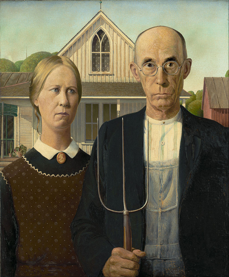 Grant Wood, American Gothic, 1930, oil on canvas, collection of the Art Institute of Chicago. Note the interesting details: the farmer's pitchfork is mimicked on the smock of his overalls. The lace curtains in the top window have polka dots similar to those on the woman's apron. These subtle details reinforce traditional male/female roles of rural America - the lace is soft and domestic, the sharp pitchfork suggests a masculine industriousness.