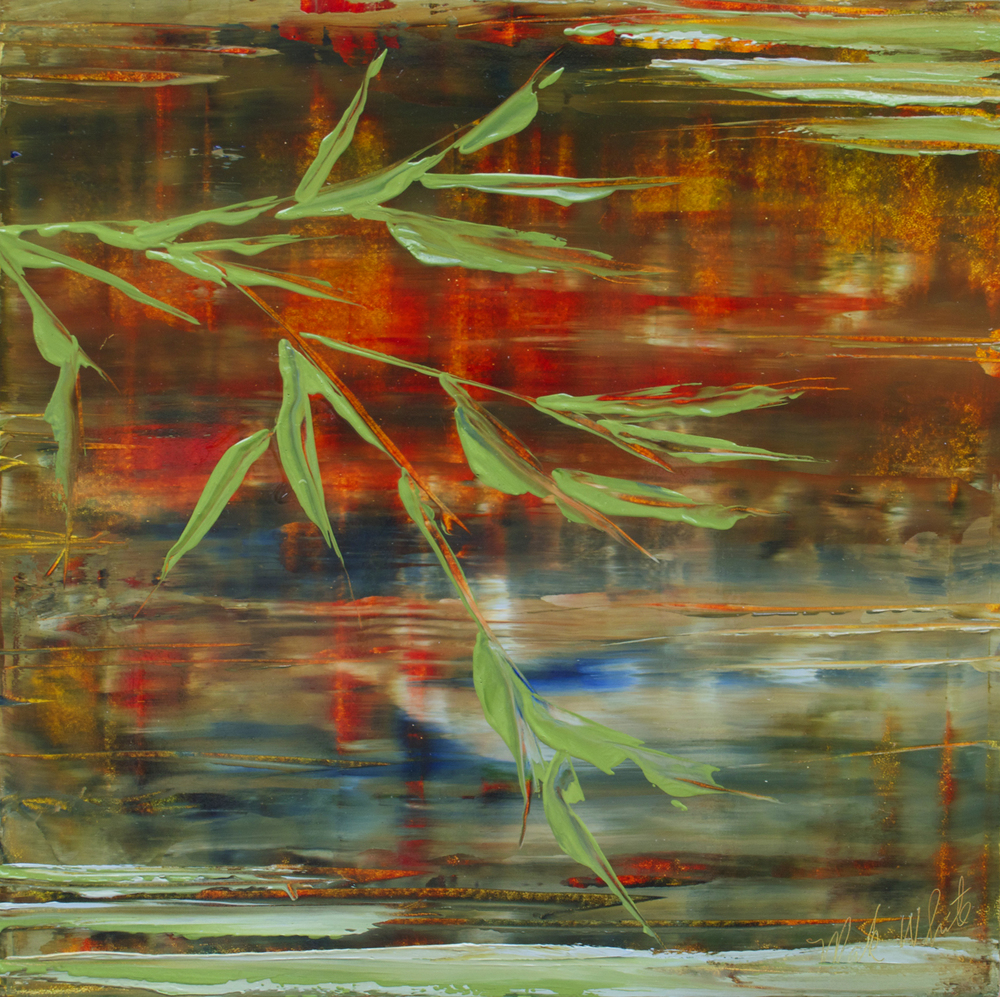 Mark White, Leaves Near Water, oil on canvas, 12 x 12 inches, $800