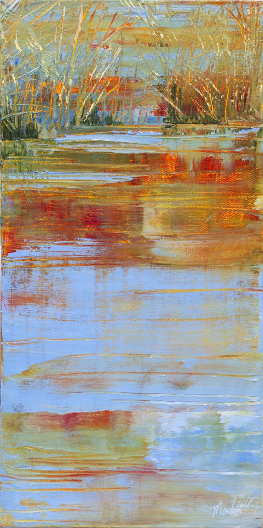 Mark White, Pond's Grassy Edge II, oil on canvas, 20 x 10 inches, $1,100
