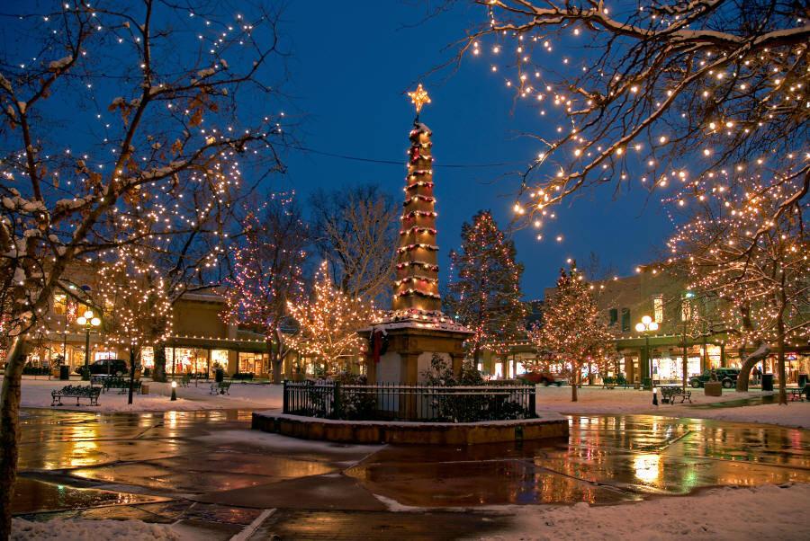 The Historic Santa Fe Plaza at Night