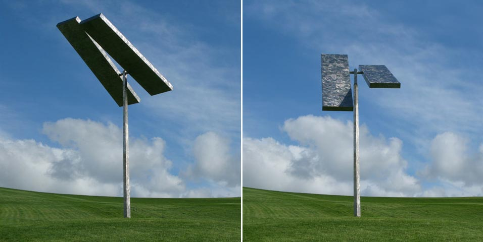 "George Rickey's monumental sculpture ""Two Rectangles"" from 1987, installed in New Zealand."