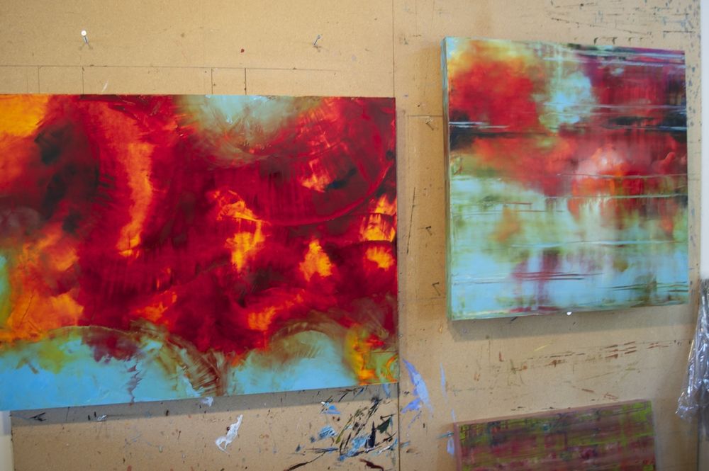 Finishing touches on Alluvial Heat (left) and Evening Glow (right) before these brilliantly colored works come home to our Canyon Road gallery.