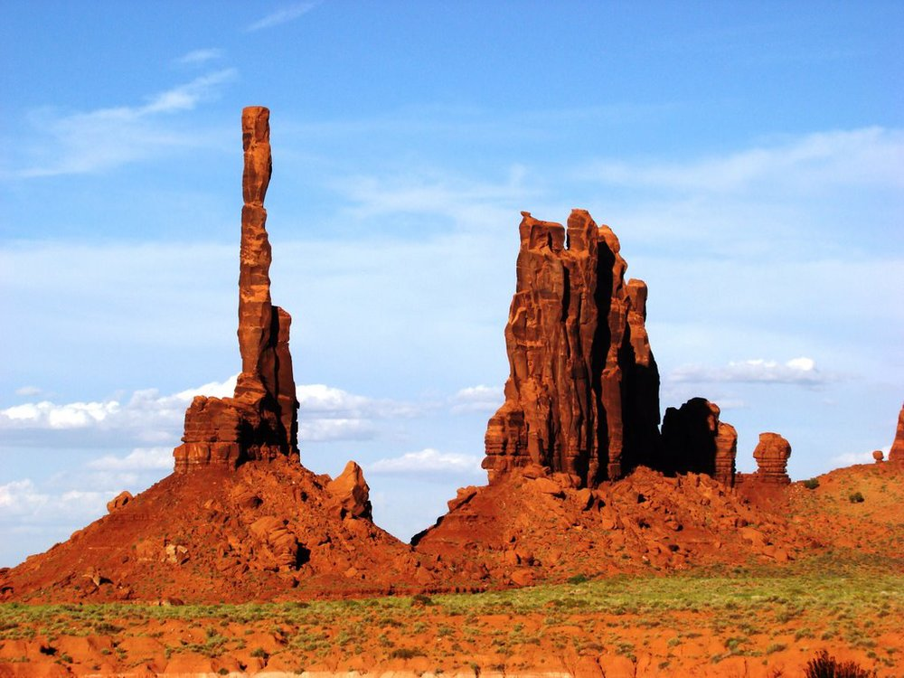 """A view of Monument Valley's """"Three Sisters"""" rock formation."""