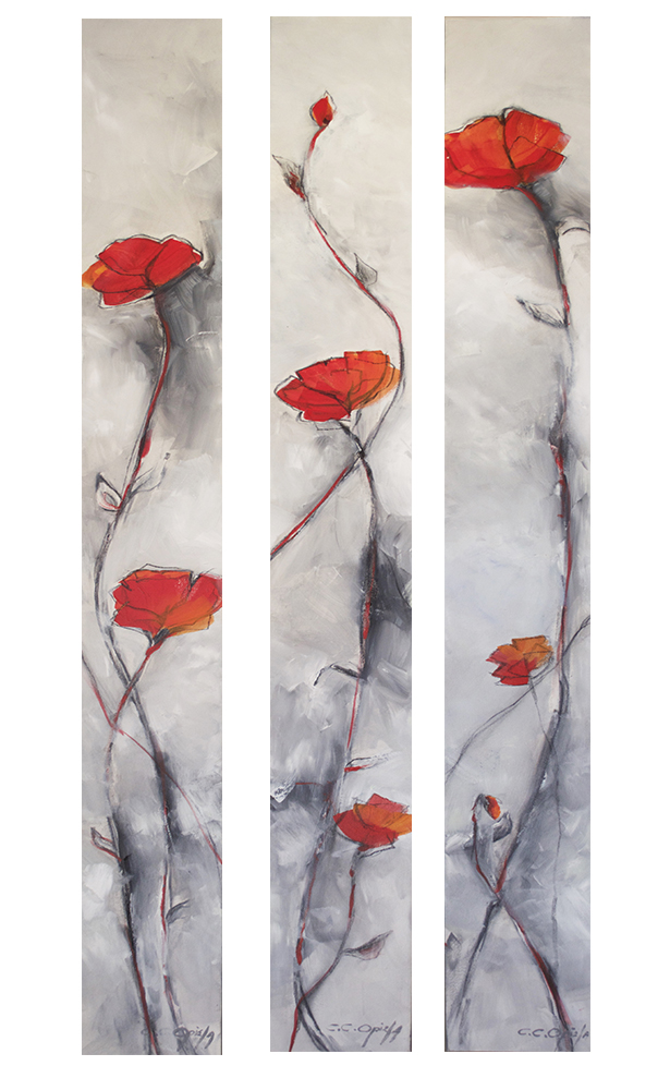 "Painted Sketch (a triptych - each slender panel measures 6"" x 60"")"