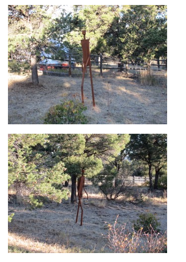 The sculpture as it appears installed in clients' yard.