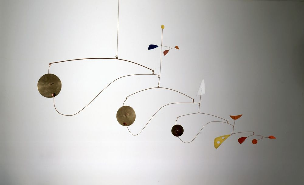 Alexander Calder (1898-1976), Triple Gong, c. 1948, Brass, sheet metal, wire, and paint, 39 x 75 x 2 3/4 inches