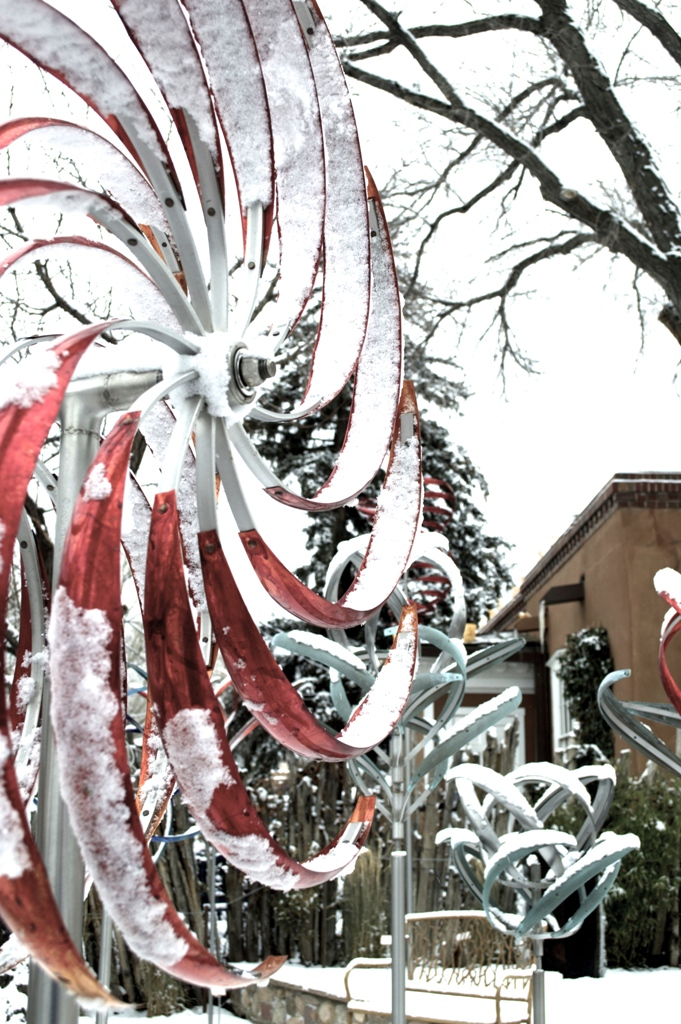 Mark White's Wind Ripples 12 kinetic sculpture in Red patina -- with a sugary snow coating!