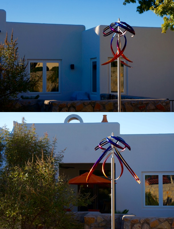"""Here are a couple photos of our Indigo to Orange Fusion Jellyfish sculpture; we can see it from several rooms in our home...on days with the slightest breeze it sits beautifully, and with the 50mph winds we experienced yesterday it looks very much like a jellyfish swimming along! We are very pleased.""- Marlene N., Las Cruces, New Mexico"