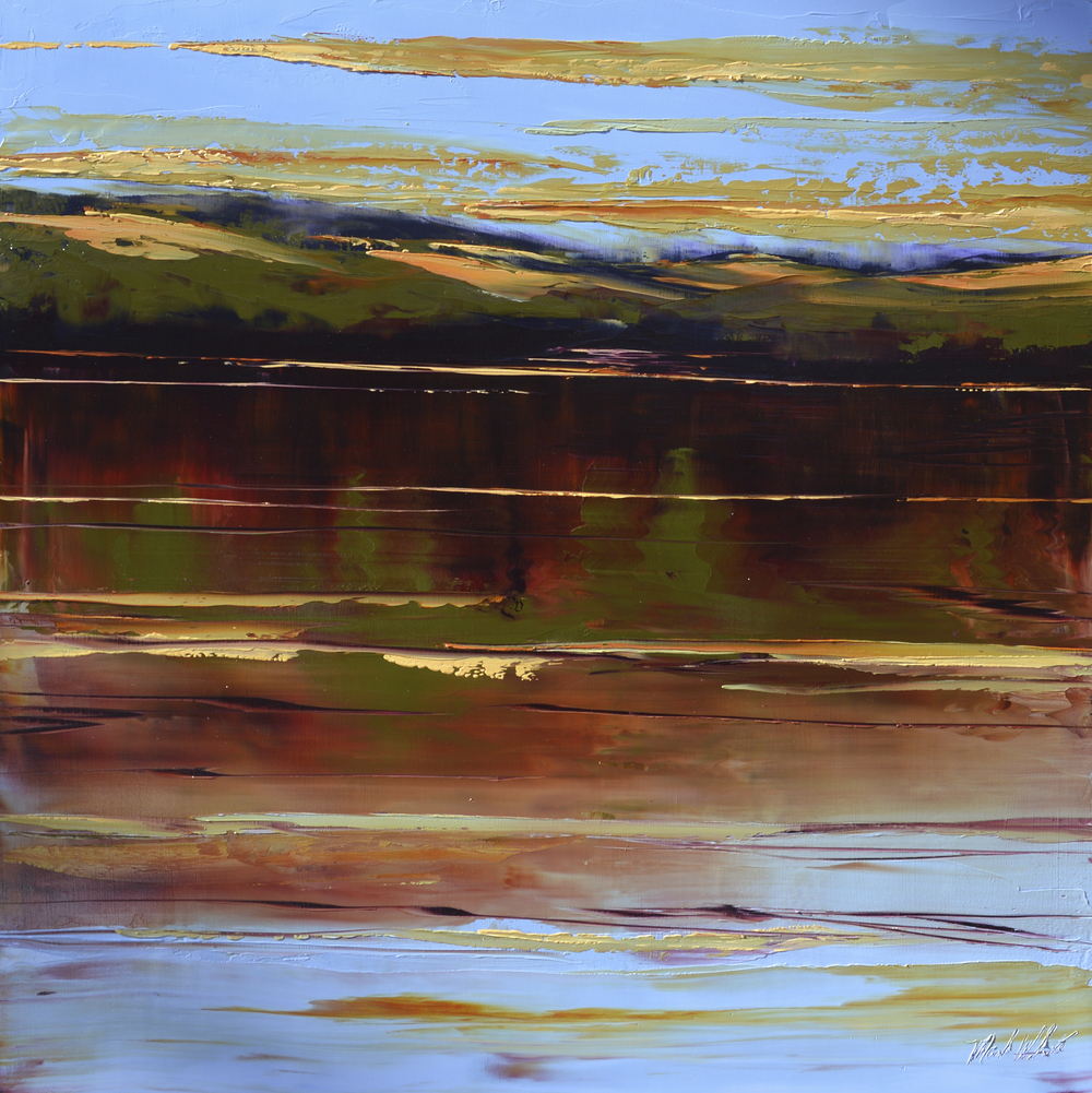 Mark White, Colorado River Bank, oil on panel, 30 x 30 inches, $4,500