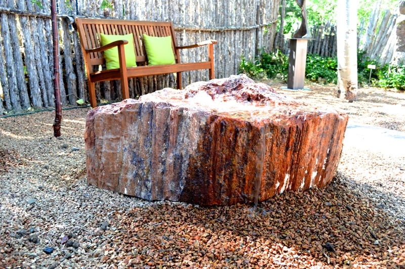 Our Petrified Wood fountain, installed in the back courtyard of our Canyon Road Gallery.