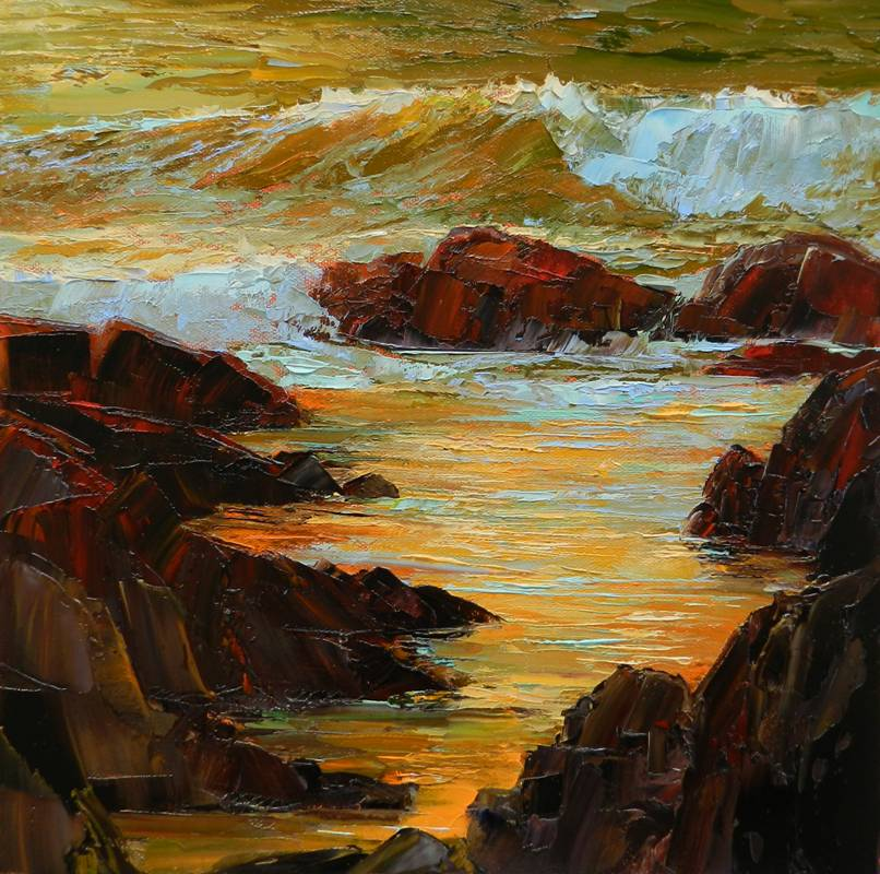 Pat Clayton's mellow and warm ocean scene, Golden Reflections at Asilomar