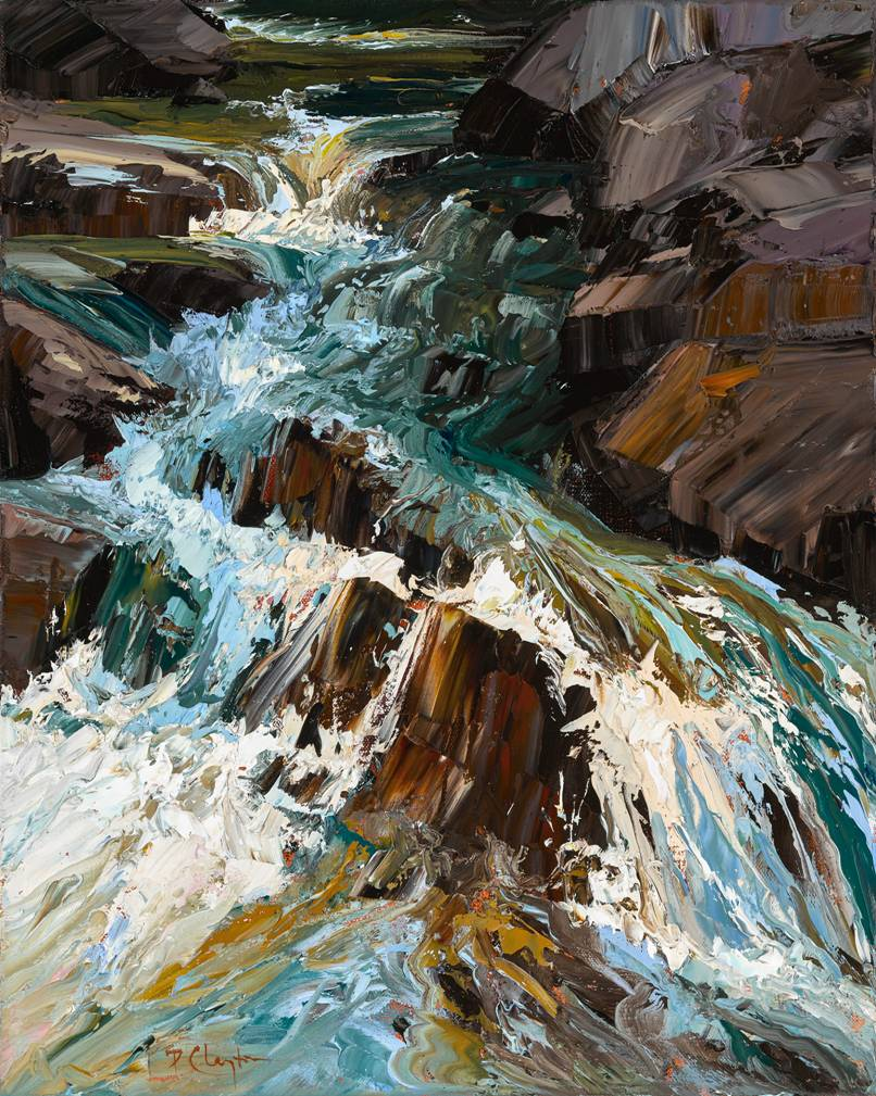 Check out the luscious texture of The Source, an oil on canvas by Clayton.