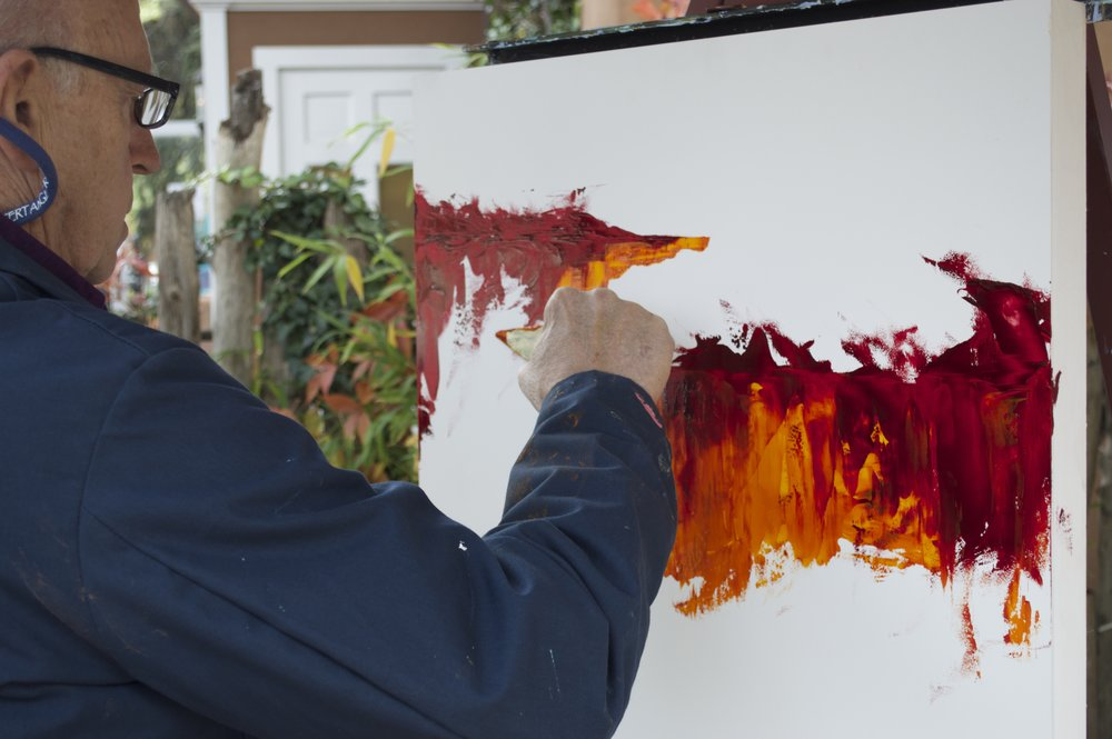 Mark White paints in the gallery's garden during last year's event.