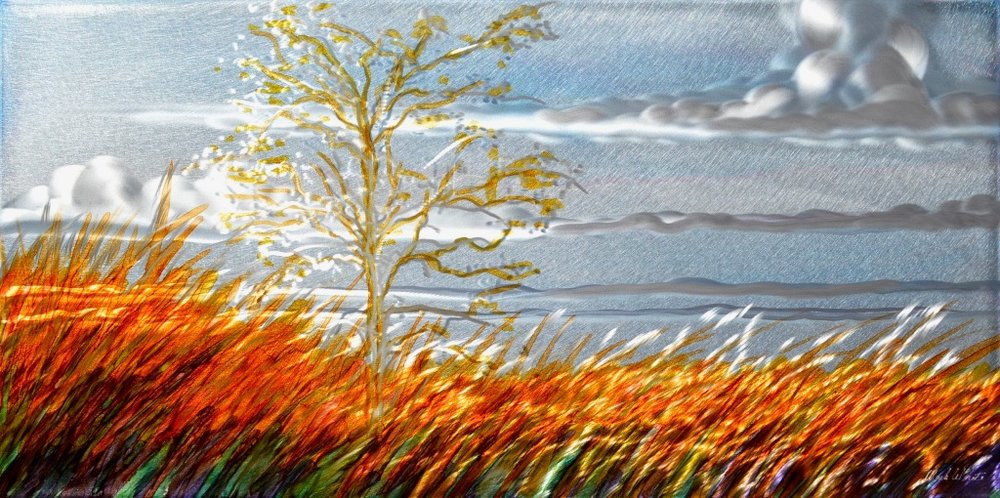 "Mark White, Prairie Tree I, 12"" x 24"", Patina on engraved aluminum panel"