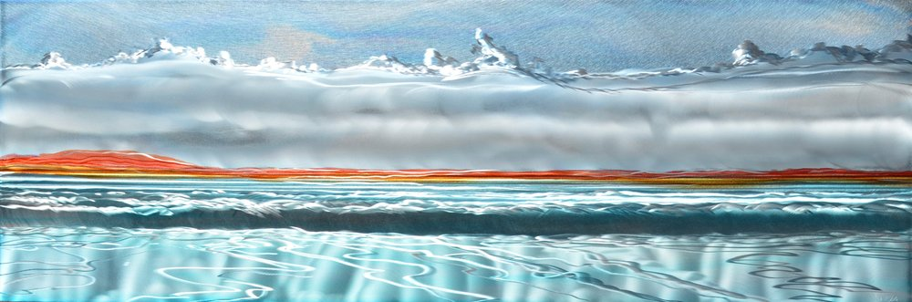 "Mark White. Silver Dawn, 16"" x 48"", Patina on engraved aluminum panel"