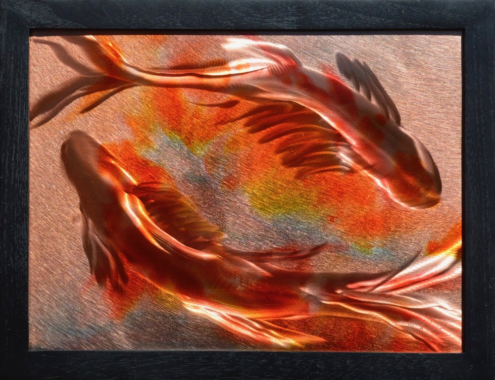 "Mark White, Koi I, 10"" x 13"", patina on engraved copper, $800"