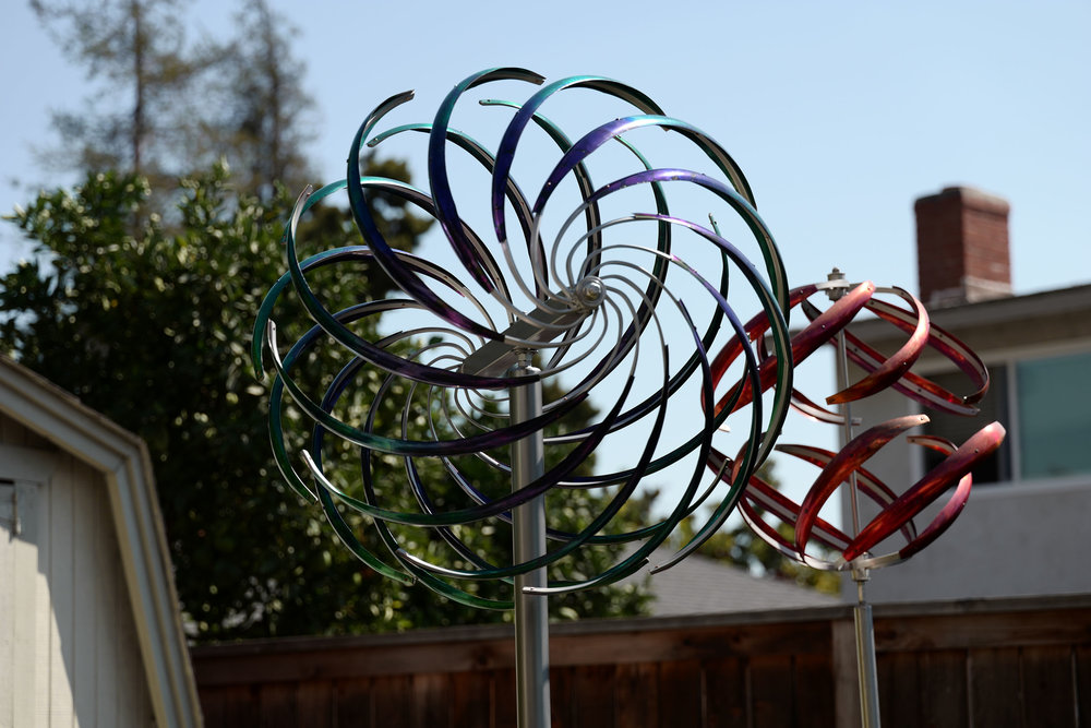 A stunning Indigo-Teal Fusion Spiral Sphere installed for a client in Southern California