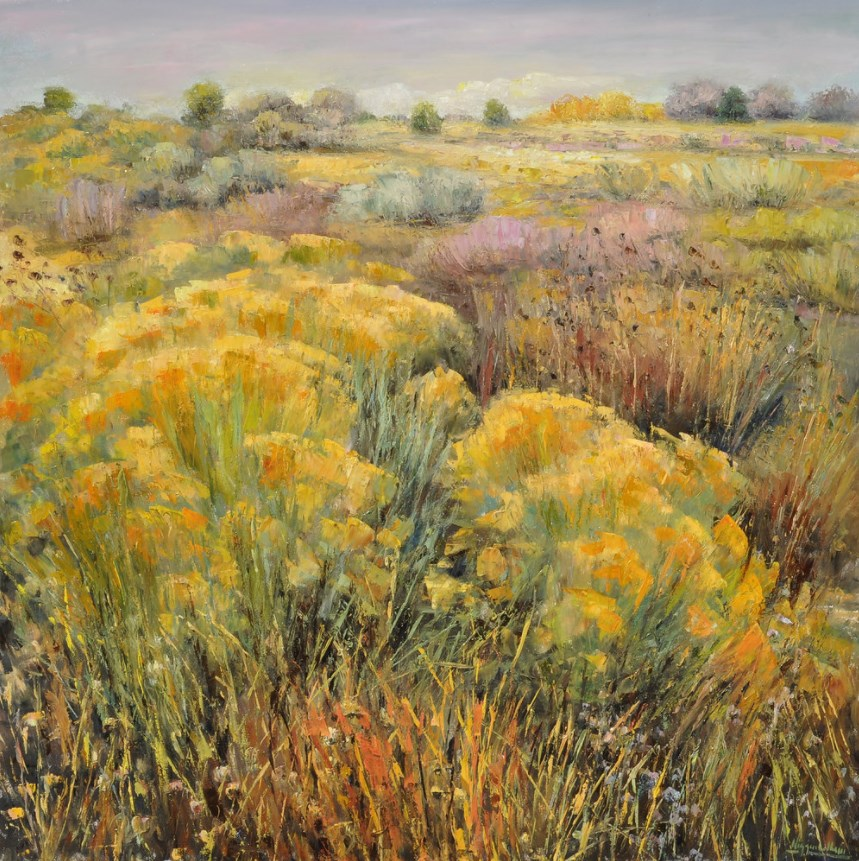 Matthew Higginbotham - Matthew Higginbotham's latest works almost radiate serenity. Soothing greens welcome audiences to stroll among the trees, and the vibrant yellow of blooming chamisa has an energy that invites reflection. Meanwhile the blues and pinks of a New Mexico sunset showcase the endless skies that so many love about the southwest.