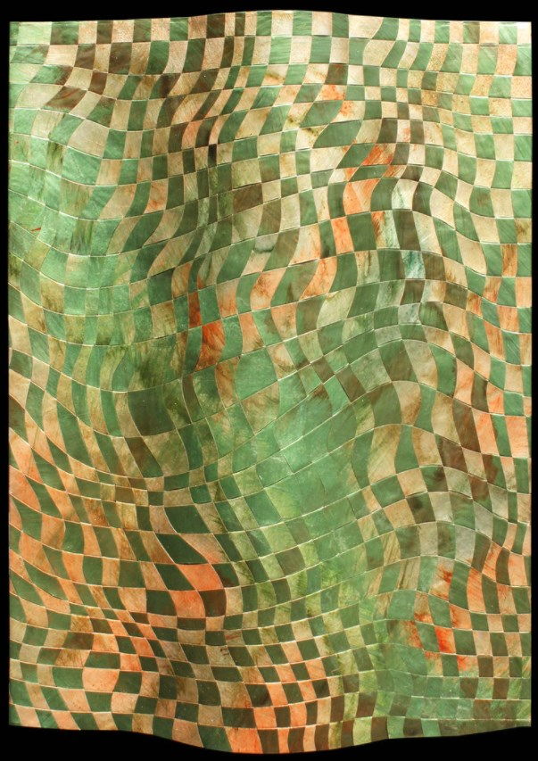 Suzanne Donazetti - Suzanne Donazetti's work is part abstract painting and part sculpture. She paints abstracted views of the landscape on side-by-side sheets of copper, cuts the metal into strips and weaves them together for a piece that bends and curves. She's selected pieces that feature a range of subjects and palettes for the auction.