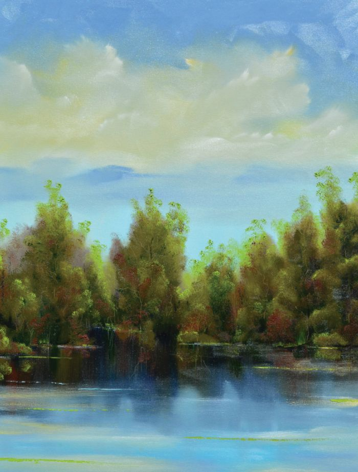 Landscape - Mark's landscape paintings have the ability to capture the serenity of a moment. From sweeping vistas to the intimate feel of a tree-lined pond he makes each work feel as though the world itself is in perfect harmony.