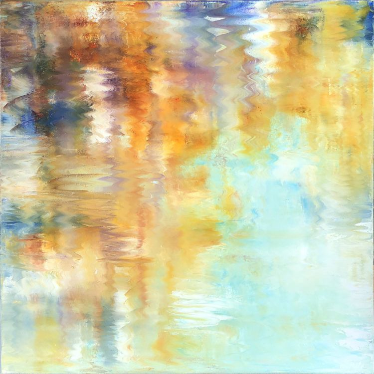 Abstract - The gentle ripples and seeming reflections of Mark's abstract works lead audiences to moments of introspection. Each person is asked to determine for themselves what the pieces mean to them as they search for the threads in the blended hues.