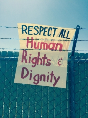 Protest sign in Artesia, New Mexico at the Family Detention Center. August 2014.