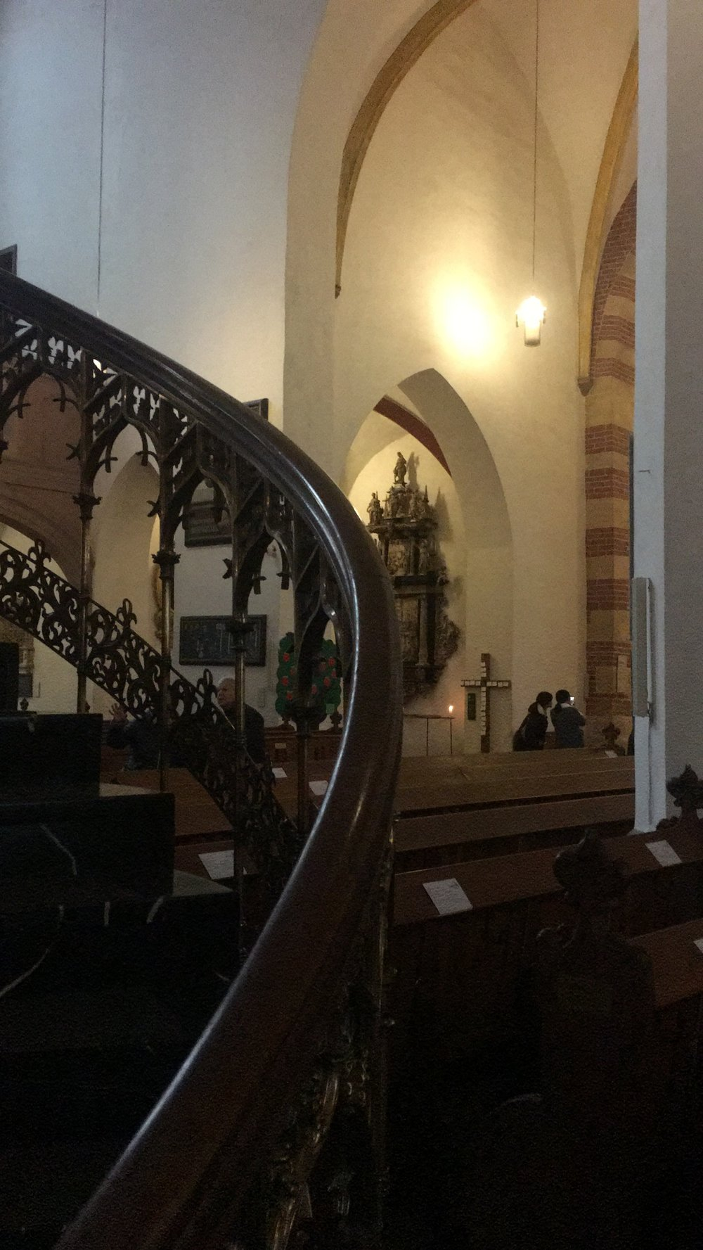 The beautiful wooden railing of the staircase that took you up to the pulpit!