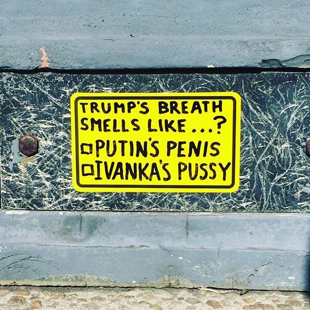 #dcstickers #slaptag #slaptags #streetart #urbanart #liddlehands #trump #donaldtrump #gop #statesofemergency #junkynation #russia #putin #badbreath