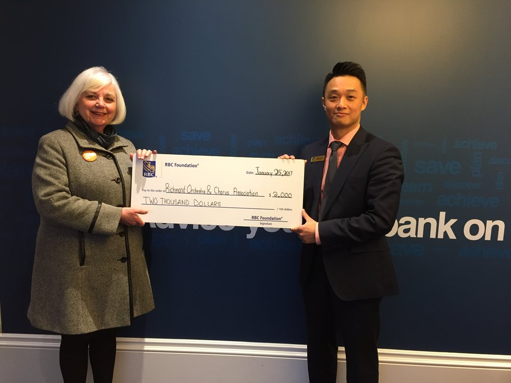 Cathy Bayley (ROCA President) and Francis Hung (RBC Branch Manager)