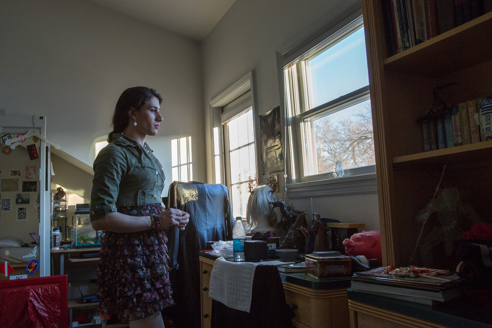 Ashley in her room in Bay Ridge, Brooklyn. Currently, she lives with her parents, although she looks forward to becoming financially independent due to family conflict. Over 40% of the homeless youth population are gay or transgender.