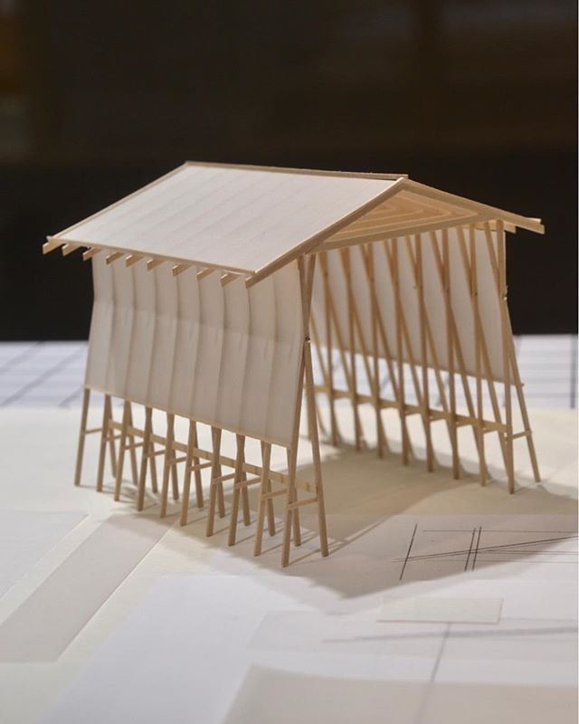 Close up detail of little architects model for the @oslodesignfair in wood and kalke paper🔍