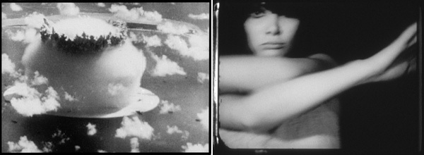 Left: Still from Bruce Conner's A MOVIE (1958, 16mm, b&w/sound, 12min.); Right: Still from Bruce Conner's BREAKAWAY (1966, 16mm, b&w/sound, 5min.); All stills courtesy of Conner Family Trust, San Francisco; © Conner Family Trust, San Francisco