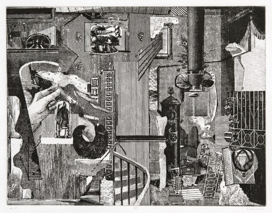 """""""Dark Leaf"""" (2001), left, lithograph on paper by Anonymous (pseudonym of Bruce Conner), and """"The Dennis Hopper One Man Show, Volume I"""" (1971), etching on paper by Conner (total eight etchings and title page), are part of """"Somebody Else's Prints""""; © Conner Family Trust, San Francisco"""
