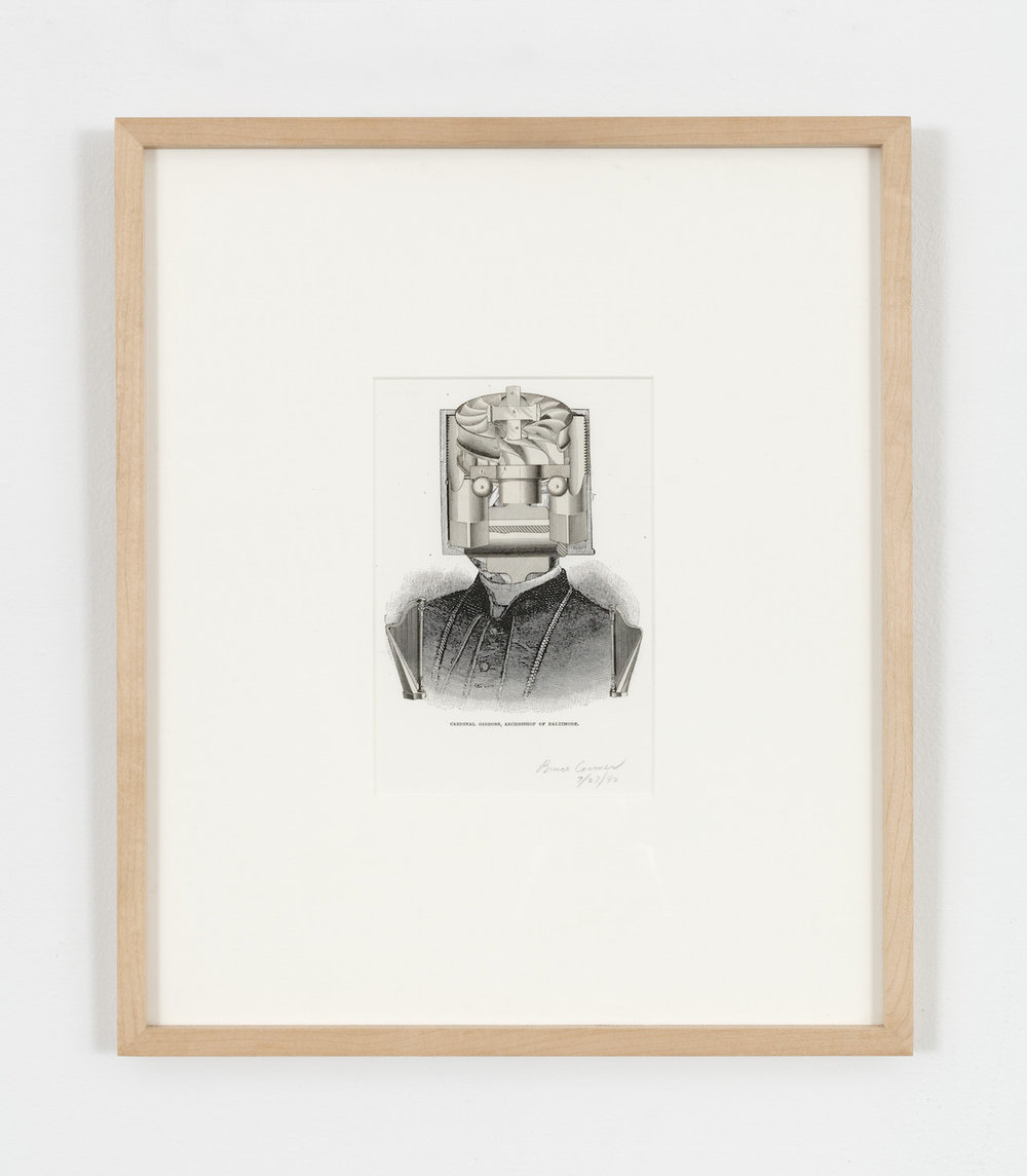 "Bruce Conner, ""CARDINALE GIBBONS, ARCHBISHOP OF BALTIMORE, JULY 27, 1990"" (1990), engraving collage, 7 1/4 x 4 7/8 inches (© 2015 Conner Family Trust, San Francisco / Artists Rights Society [ARS], courtesy Paula Cooper Gallery, New York, photo by Steven Probert)"