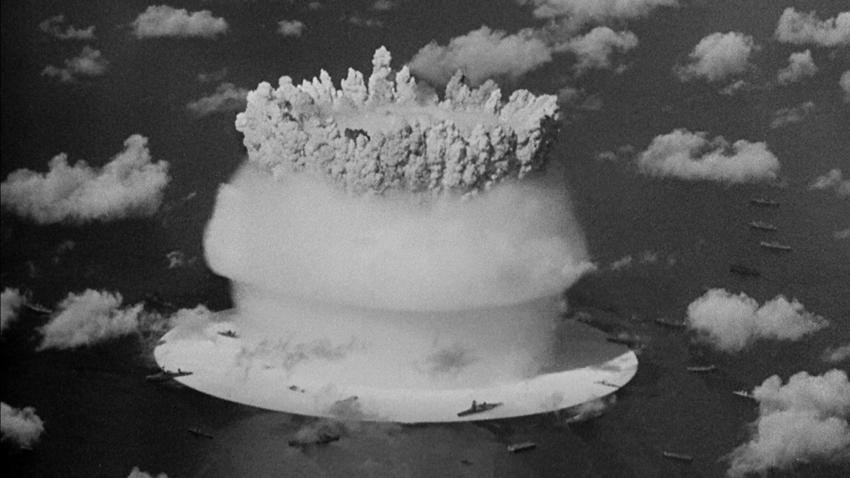 The footage Conner found in the National Archives was of the first underwater atomic bomb test at Bikini Atoll in the Pacific in 1946. It contained views of the explosion from every imaginable angle. (Conner Family Trust/Kohn Gallery)