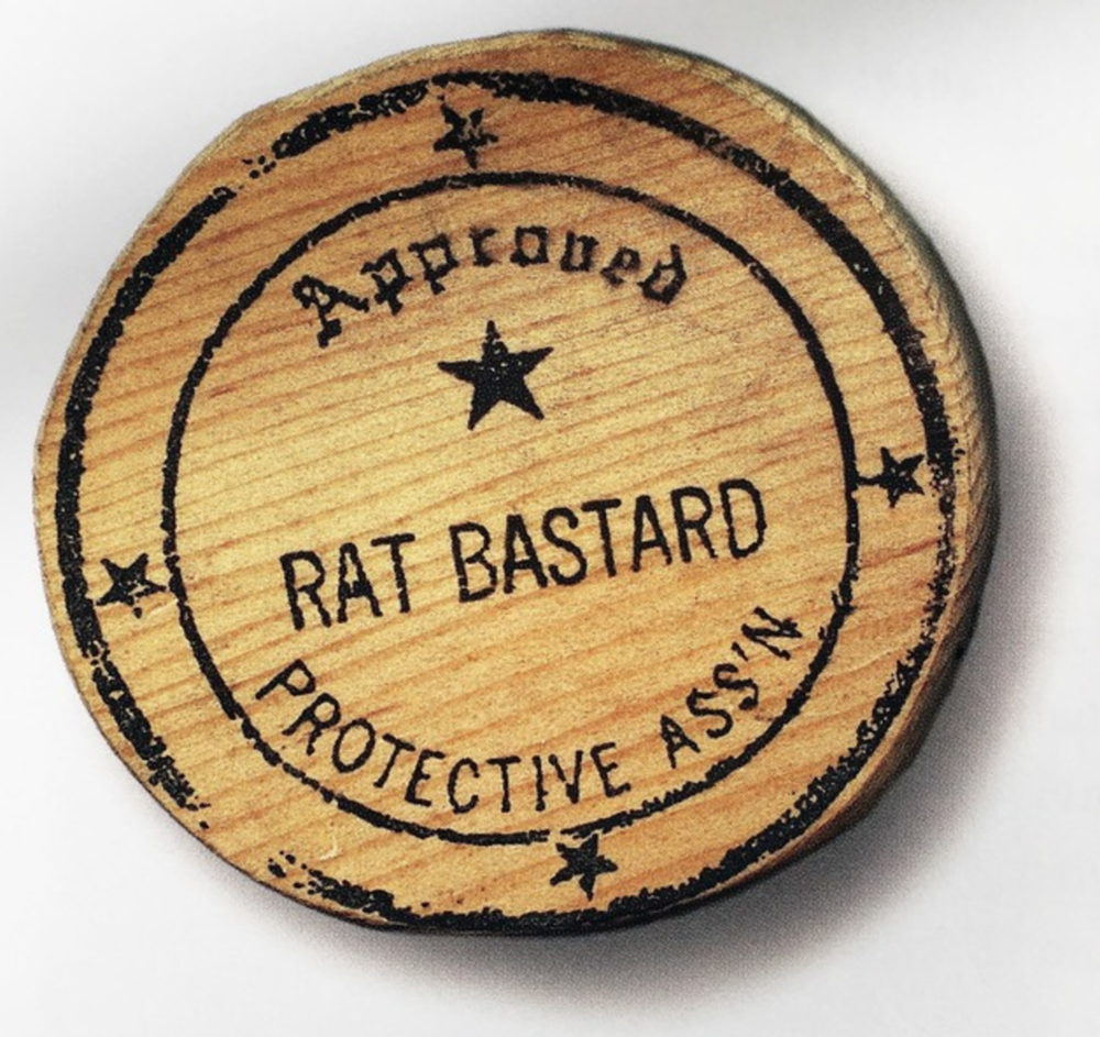 """© BRUCE CONNER FAMILY TRUST, SAN FRANCISCO/ARTISTS RIGHTS SOCIETY (ARS), NEW YORK; Back of the """"Rat Bastard Protective Ass'n"""" stamp, created ca. 1957-58."""