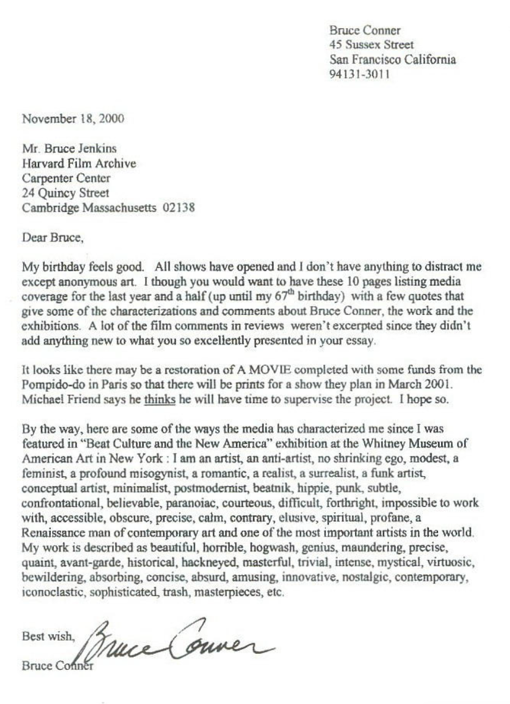 Fax from Bruce Conner to Bruce Jenkins November 18, 2000.