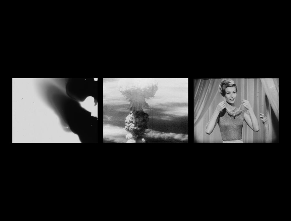 Bruce Conner, THREE SCREEN RAY (2006, three-channel video installation, b&w/sound,5min. 23sec.); Courtesy Kohn Gallery, Los Angeles; Courtesy Conner Family Trust; © Conner Family Trust, San Francisco.
