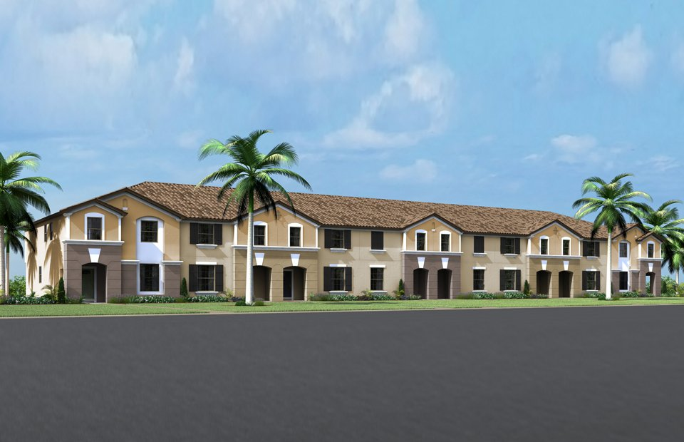"Casas geminadas ""townhomes"" no condomínio Windsor at Westside em Kissimmee. Photo credit: www.pulte.com"